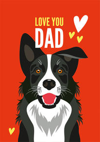Border Collie Fathers Day Card