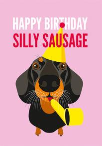 Dachshund Hat Birthday Card