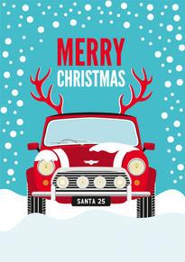Mini Cooper Antlers Christmas Card