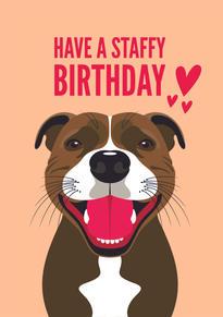 Staffy Birthday Card
