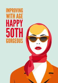 50th Scarf Birthday Card