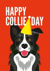 Border Collie Hat Birthday Card