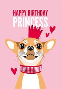 Chihuahua Crown Birthday Card