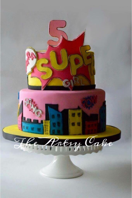 Supergirl pop art themed cake