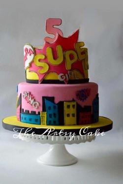 Supergirl pop art themed cake