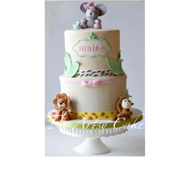 Baby animals themed baby shower cake