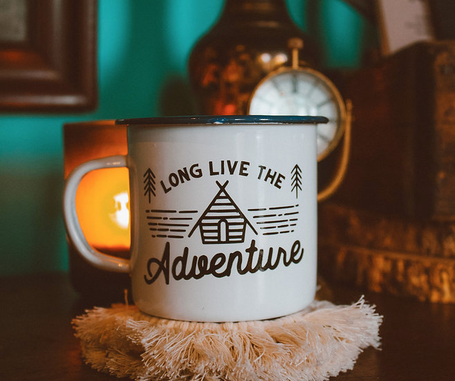 Long live the adventure enamel campfire mug