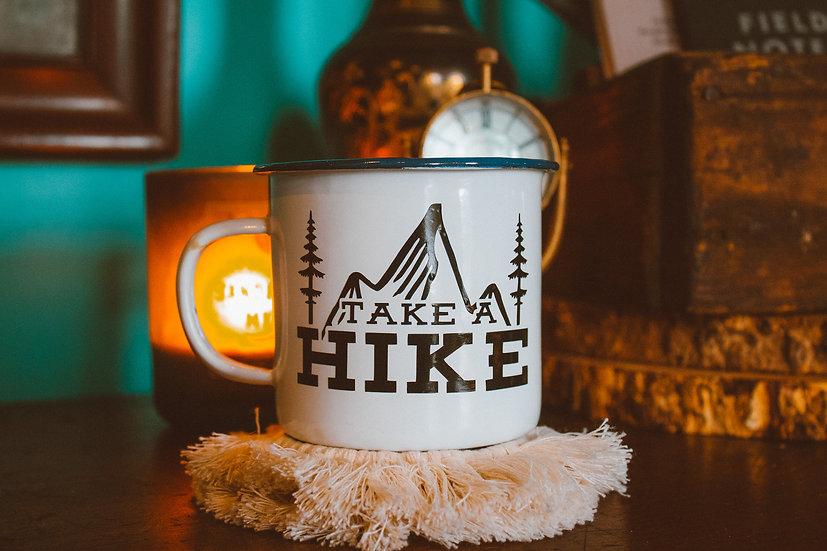 Take a hike enamel campfire mug