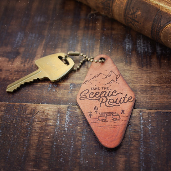 Take the scenic route keychain
