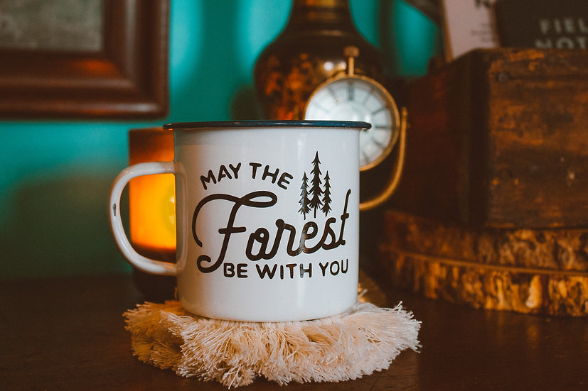 May the forest be with you enamel campfire mug