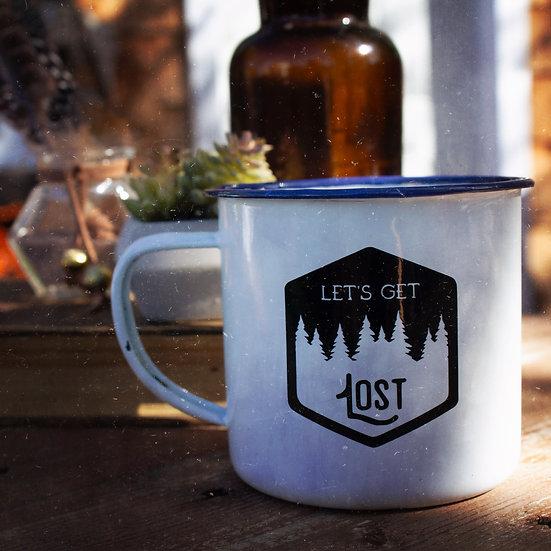 Let's get lost enamel campfire mug