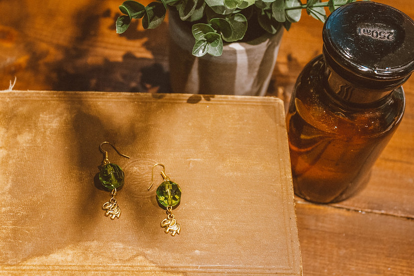 Green and Gold Elephant Earrings