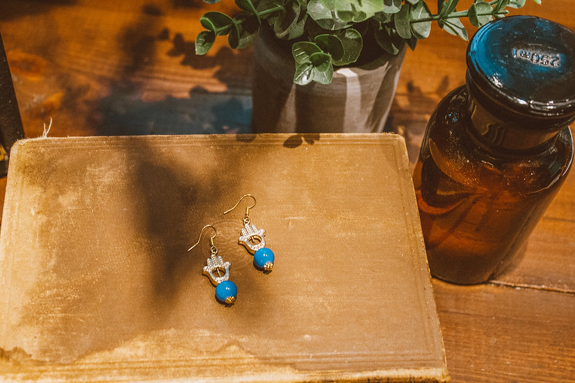 Blue and Gold hand earrings