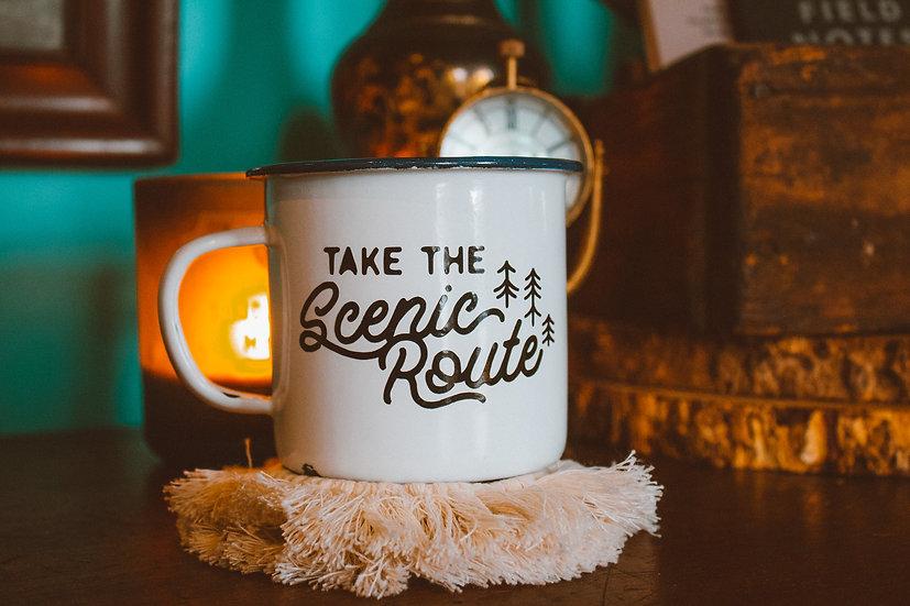 Take the scenic route enamel campfire mug