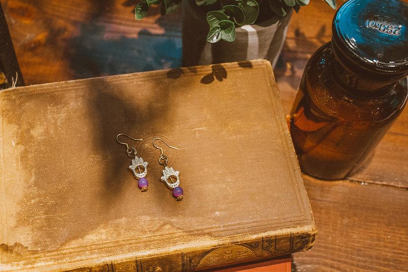 Purple hand earrings