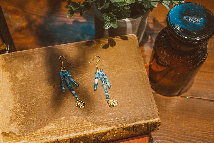 Blue toned elephant earrings