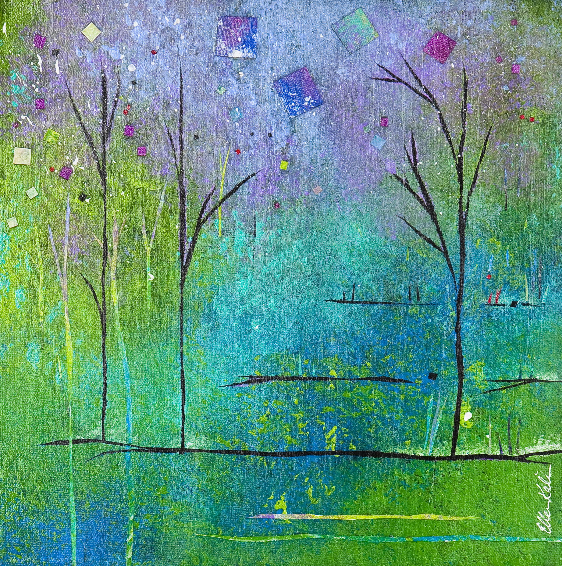 Trees & Terrace - 12x12, $300