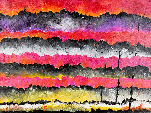 Fire Sunset Mountain Ranges