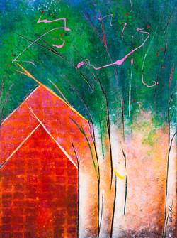Houses, Trees - 18x24, $825