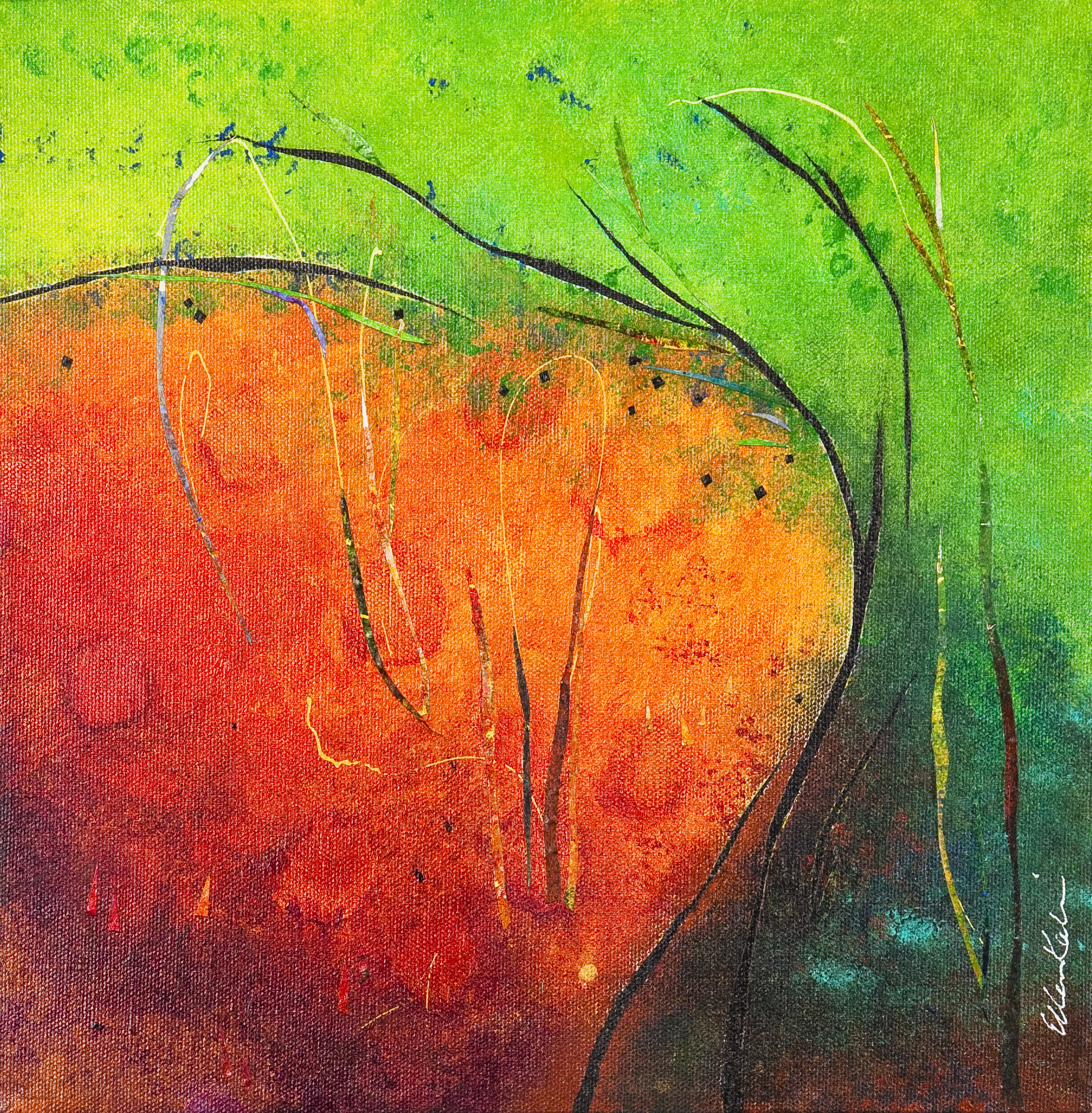 GreenTreeOrangeEarth - 12x12, $275