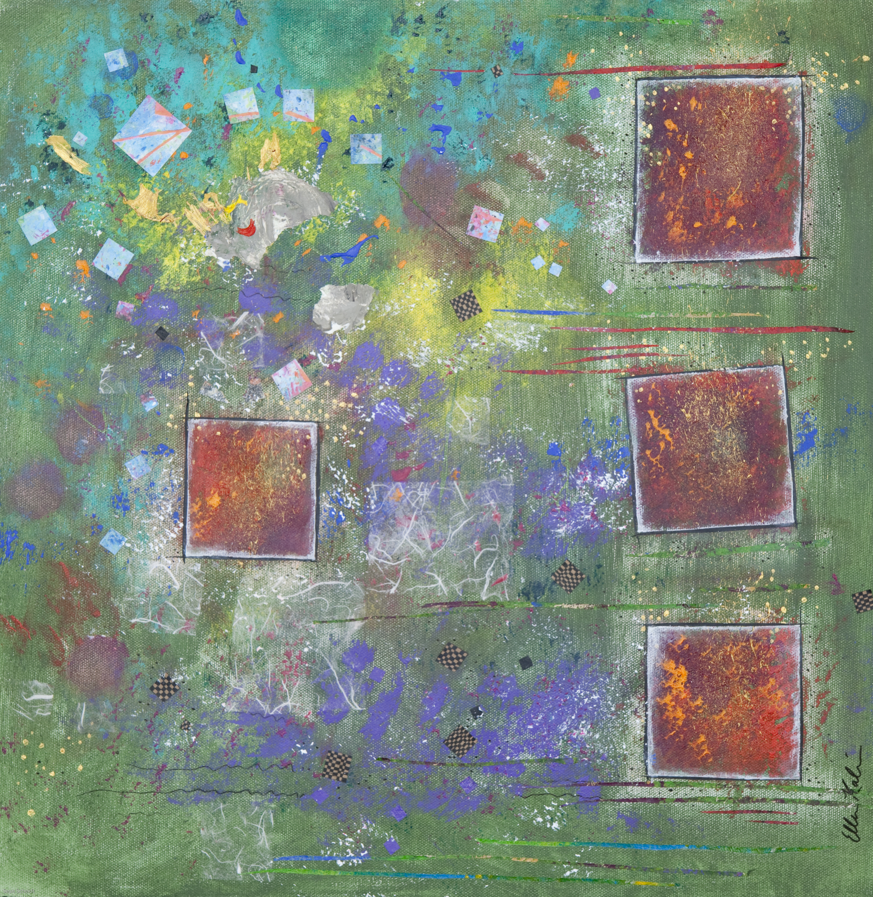 Red Squares Chaotic Sky -18x18, $675