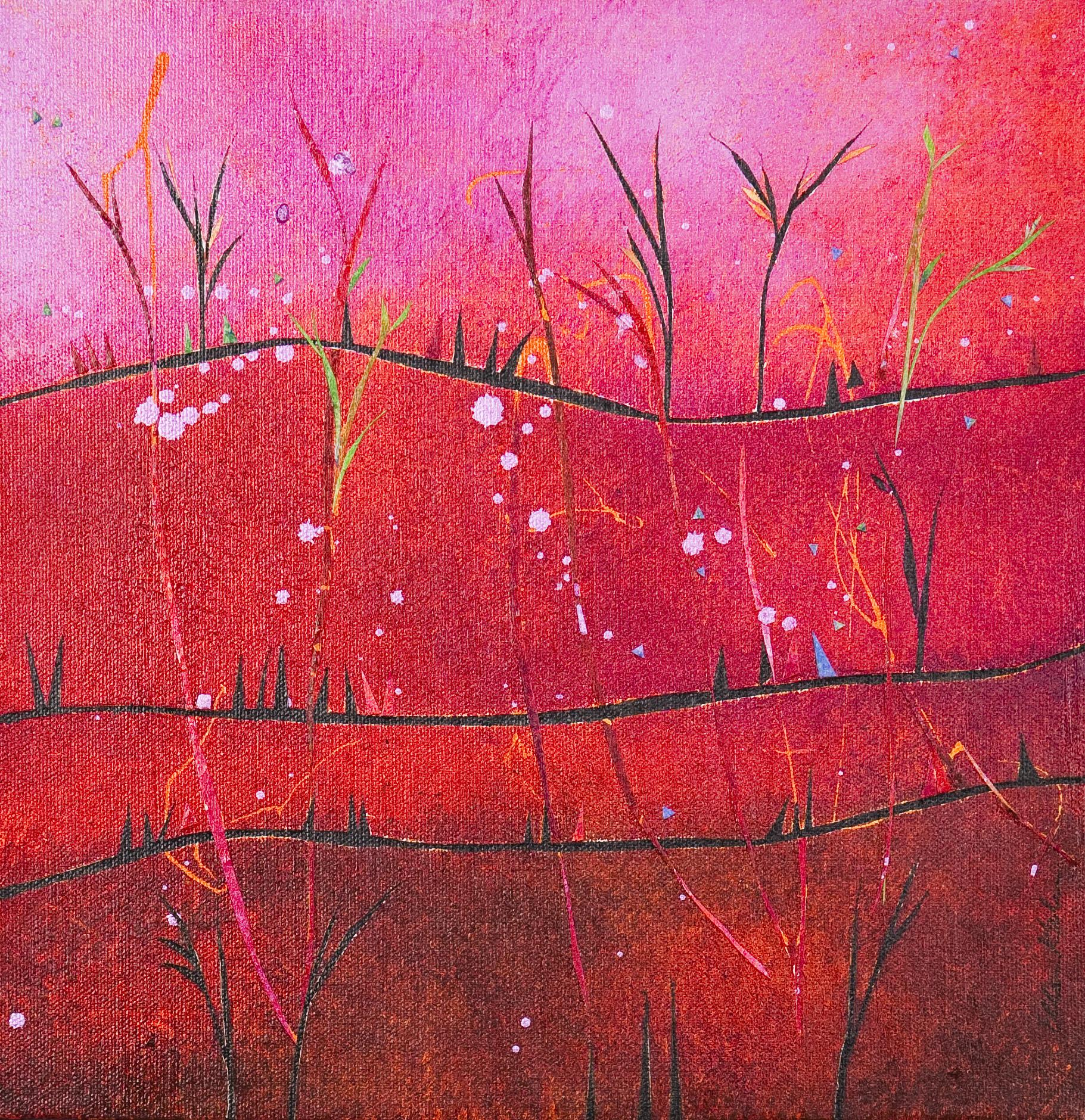 Pink Hills, Green Shoots 12x12, $300