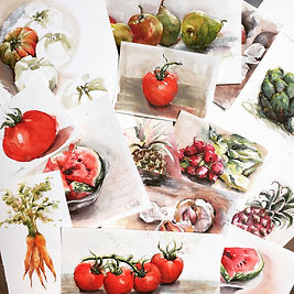 """fruits and vegetables"" bilder aus meinen malkursen"