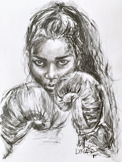woman boxing sketch