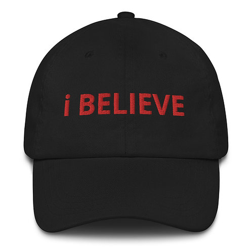 The Testimonial Hat (Red Text on black and camo)