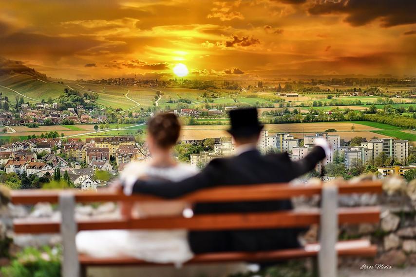 Brautpaar Panorama Sonnenuntergang