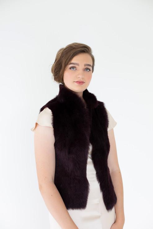 Maroon Fur Vest