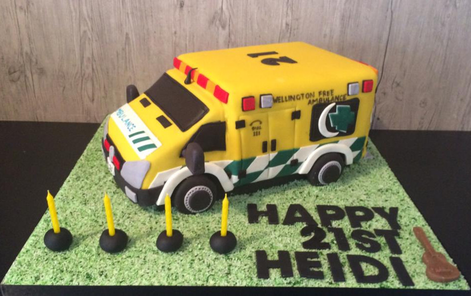 Specialty car cakes by Cakes by Kim, Central Otago  Paramedic Ambulance Cake