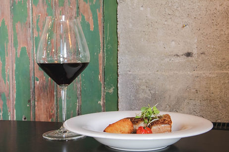 Pitches Store lunch menu Pork Belly with Hawkdun Rise Pinot Noir