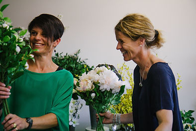 The Flower Merchant founders with Faux flowers