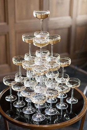Champagne Saucers - Etched