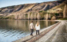 Couple in Love walking on Lake Wanaka shore