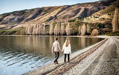 Couple in Love walking on Lake Wanaka shore