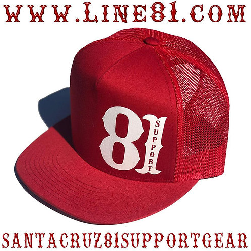 Red vintage support trucker hat