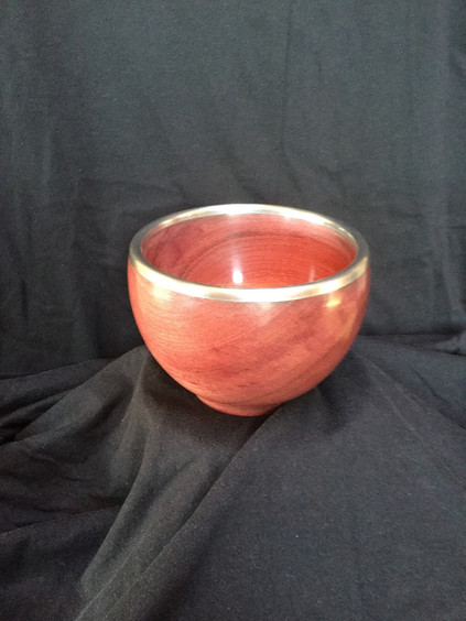 Purpleheart and pewter bowl
