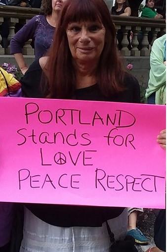 Lisa Stiller at Portland, OR rally