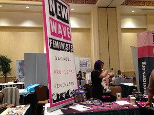 New Wave Feminists table at Pro-life Women's Conference