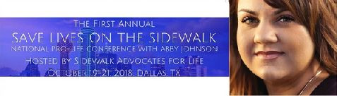 Save Lives on the Sidewalk conference logo + Abby Johnson