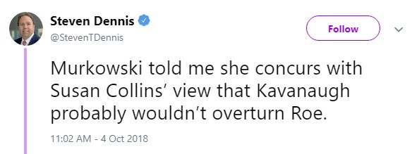 Steven Dennis tweet on Kavanaugh & Roe
