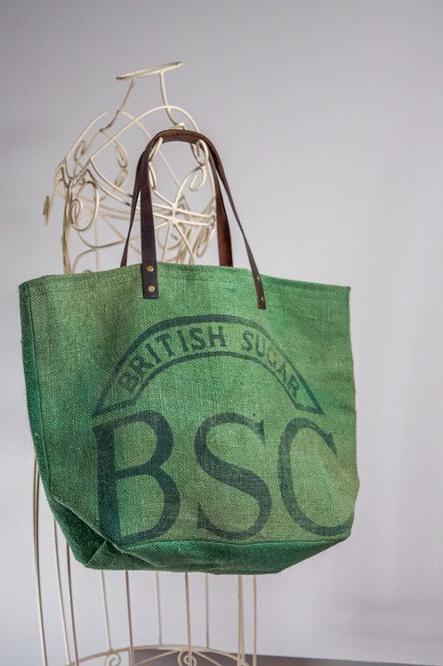 Just7 Upcycled Rare Jute Grain Sack Tote Bag