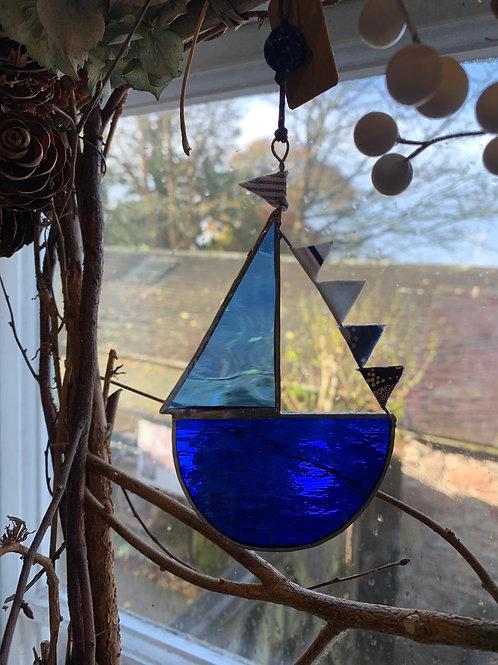 Cornish Beach Handmade Glass Sailing Boat