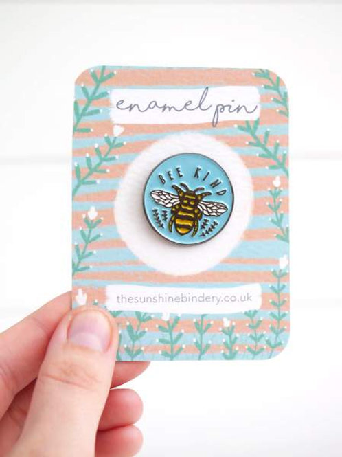 Th Sunshine Bindery Bee Kind Enamel pin