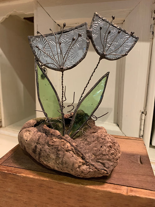 Cornish Beach Handmade glass flowers on Cornish Driftwood
