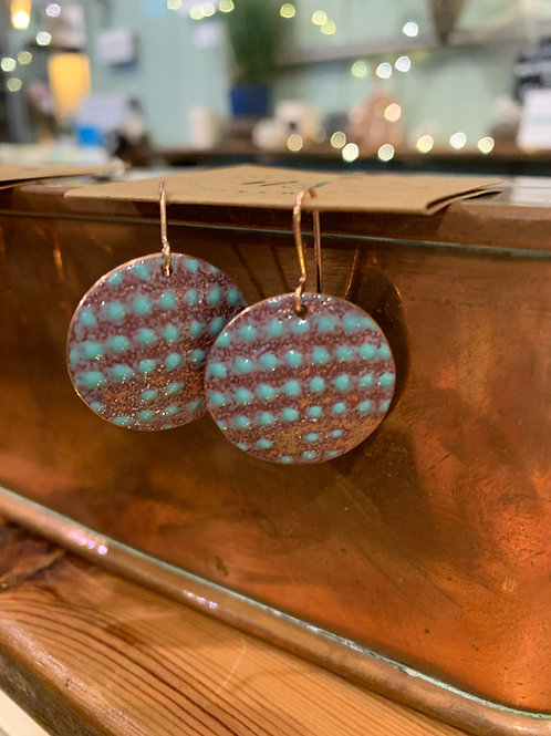 Nicky Sadler Handmade Copper & enamel Sea Foam Earrings NS67/68