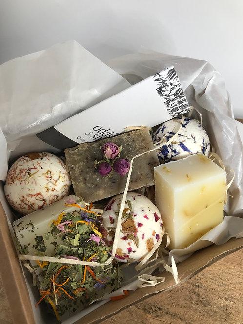 Box of assorted Handmade Soaps & Bath Creamers