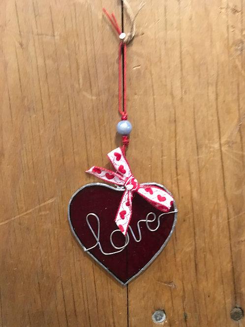 Cornish Beach Hanging Glass Love Heart